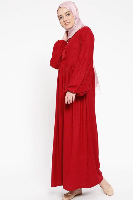 Dadali Bordo İnci Detaylı Elbise