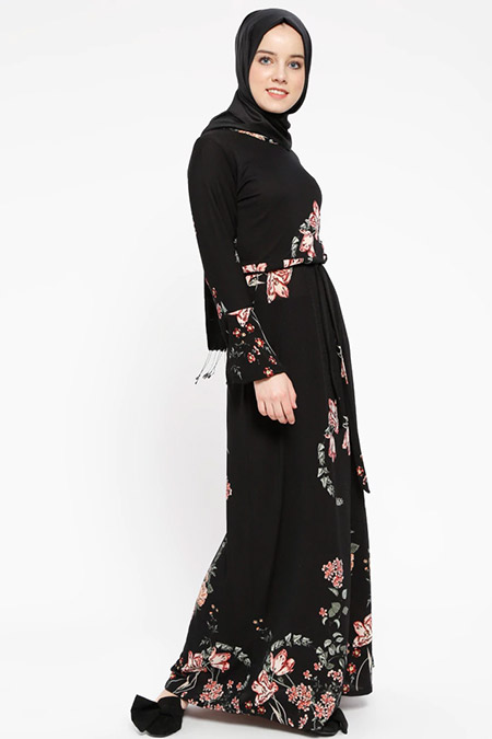 Dadali Siyah Desenli Elbise