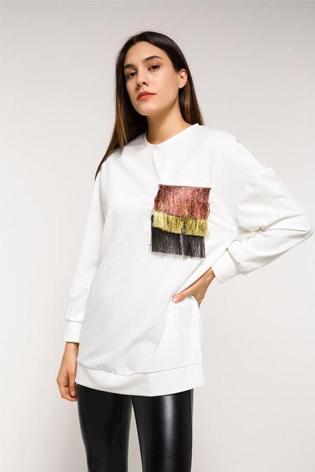 Defacto Beyaz Uzun Kollu Tunik