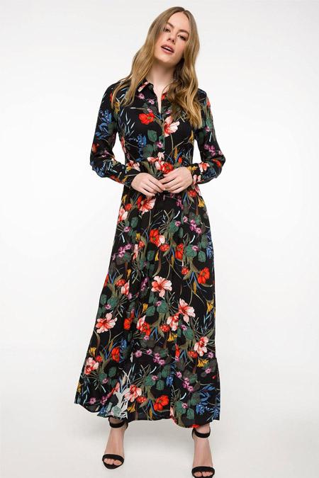 Defacto Çiçek Desenli Uzun Gömlek Elbise