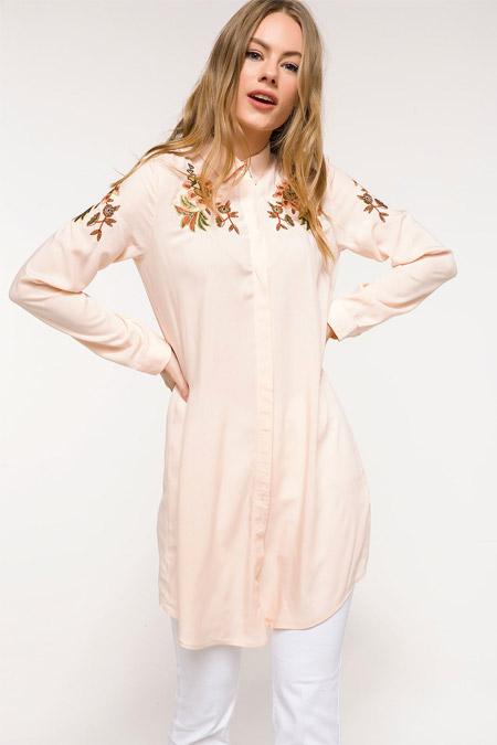 Defacto Ekru İşleme Detaylı Gömlek Tunik