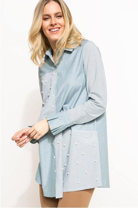Defacto İnci Detaylı Gömlek Tunik