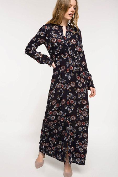 c1094d1dda42a Defacto Lacivert Çiçek Desenli Uzun Elbise Online Satış, İndirimli ...