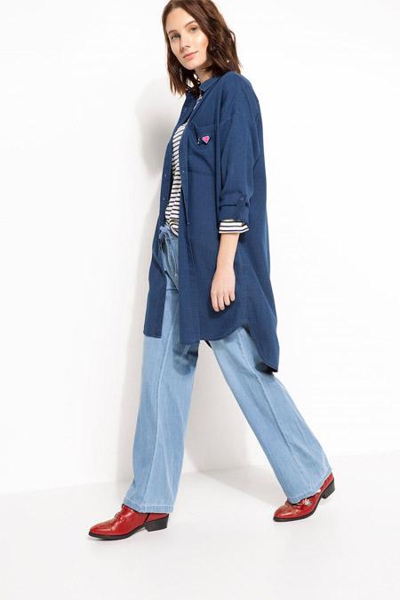 Defacto Mavi Uzun Kollu Gömlek Tunik