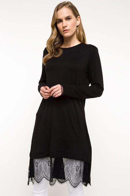 Defacto Siyah Etekleri Dantel Detaylı Uzun Kollu Tunik