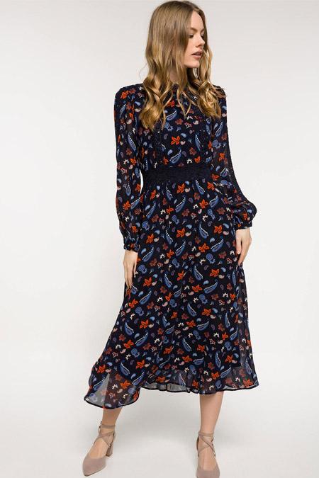 Defacto Siyah Kuşak Detaylı Desenli Şifon Elbise