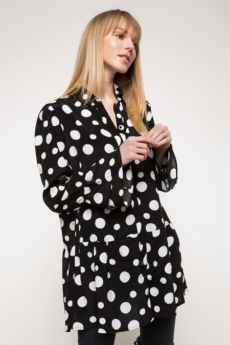 Defacto Siyah Puantiyeli Gömlek Tunik