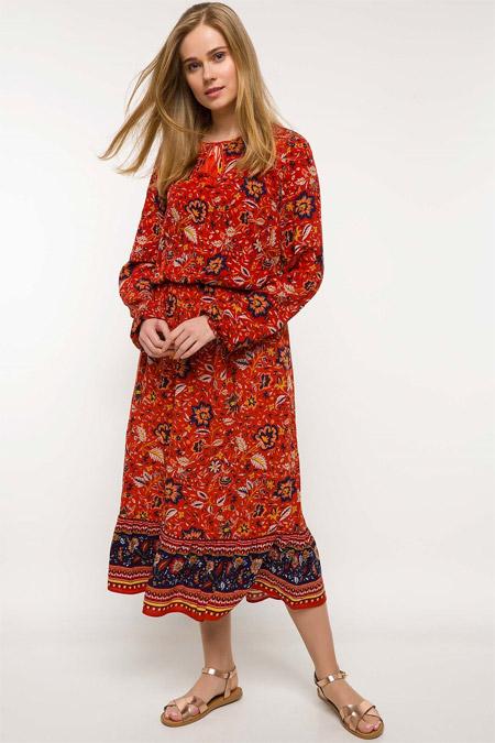 Defacto Turuncu Desenli Elbise