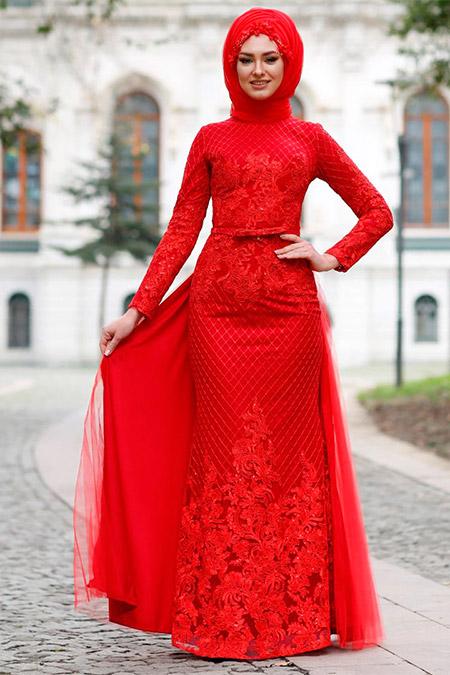 Eldia By Fatıma Kırmızı Layen Abiye Elbise