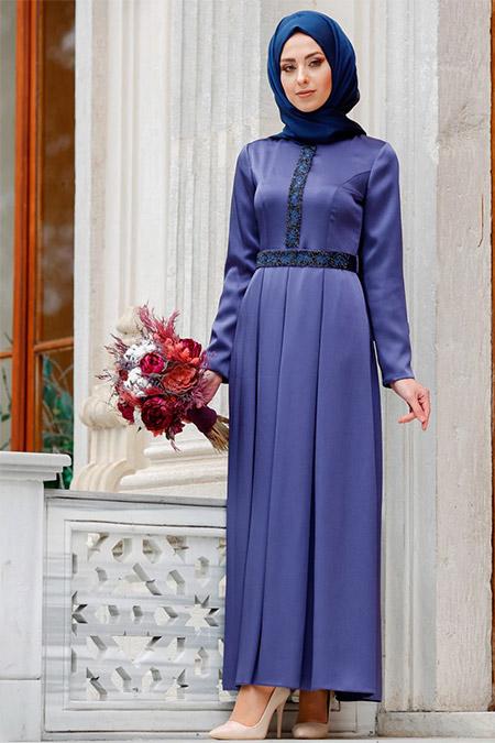 Eldia By Fatıma Lacivert Elya Abiye Elbise