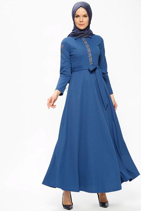 Ginezza İndigo Nakış Detaylı Elbise