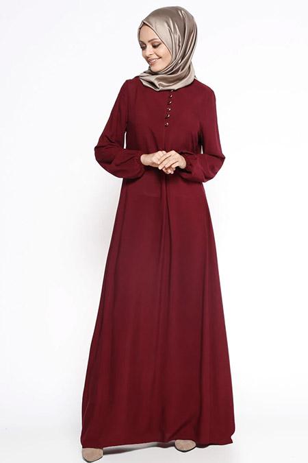 Ginezza Bordo Birit Detaylı Elbise