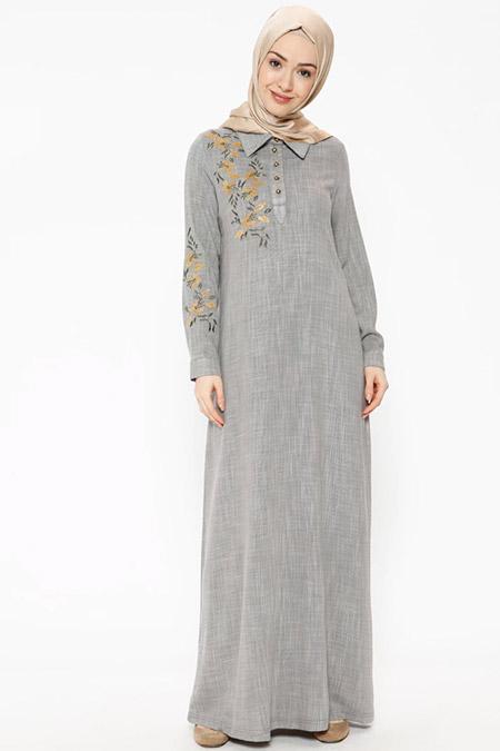 Ginezza Gri Nakışlı Taş Detaylı Elbise