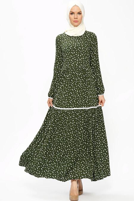 Ginezza Haki Çiçek Desenli Elbise