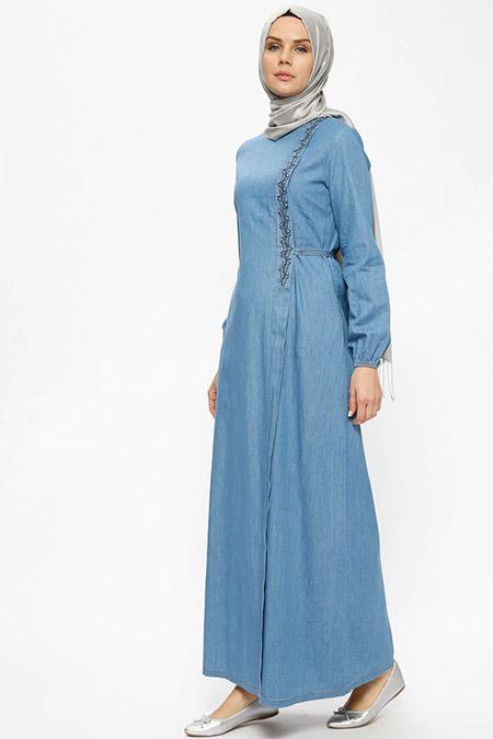 Ginezza Lacivert Kot Elbise