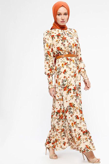 HÜMA SULTAN Bej Çiçek Desenli Beli Lastikli Elbise