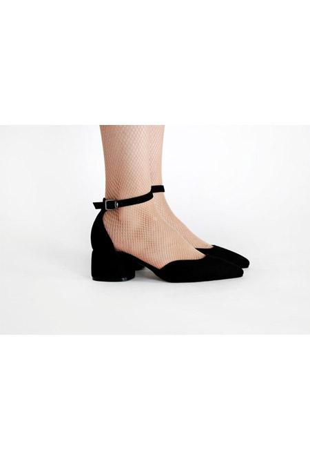 Marcatelli Siyah Süet Topuklu Ayakkabı