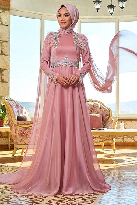 Minel Aşk Pudra Su Abiye Elbise