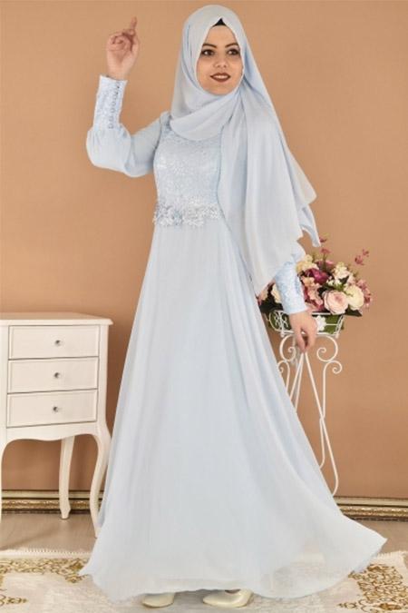 Modamerve Bebe Mavisi Şal Kombinli Şifon Abiye Elbise
