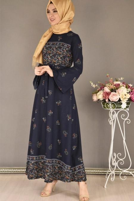 Modamerve Lacivert Çiçek Desen Elbise