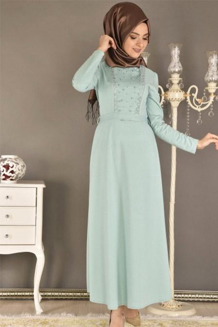 Modamerve Mint Ön İncili Elbise