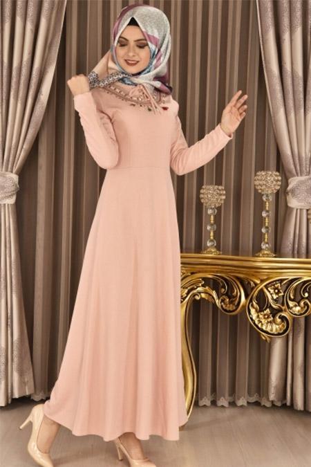 Modamerve Pudra Ön Nakışlı Elbise