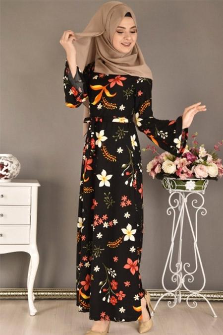 Modamerve Siyah Valon Kol Çiçek Desen Elbise