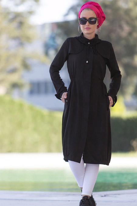 Myzen Siyah Kapüşonlu Uzun Tunik