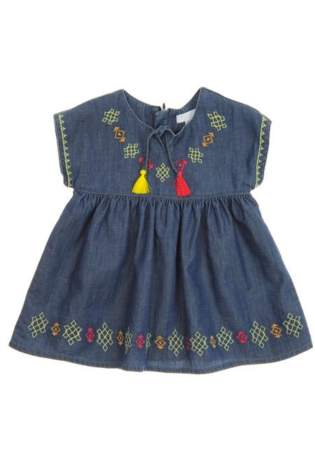 Panço Lacivert Kız Bebek Kot Elbise