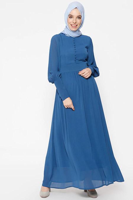 Puane İndigo Brit Detaylı Elbise