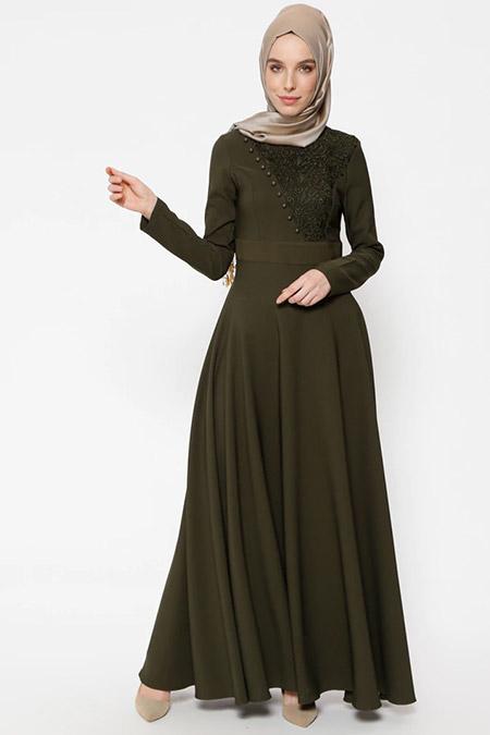 Puane Haki Dantel Detaylı Elbise