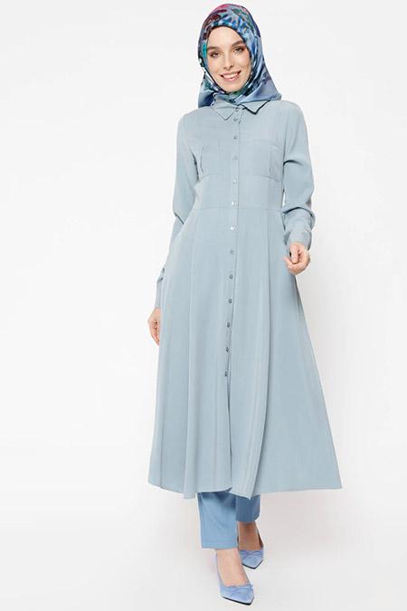 Puane Mavi Düğmeli Uzun Tunik