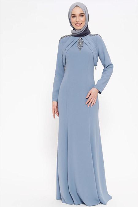 Puane Mavi Taş Detaylı Abiye Elbise