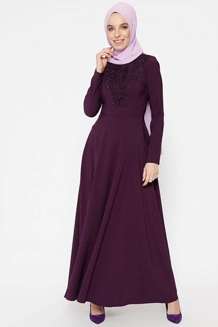 Puane Mor Dantel Detaylı Elbise