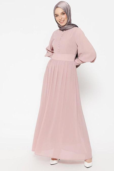 Puane Pudra Brit Detaylı Elbise