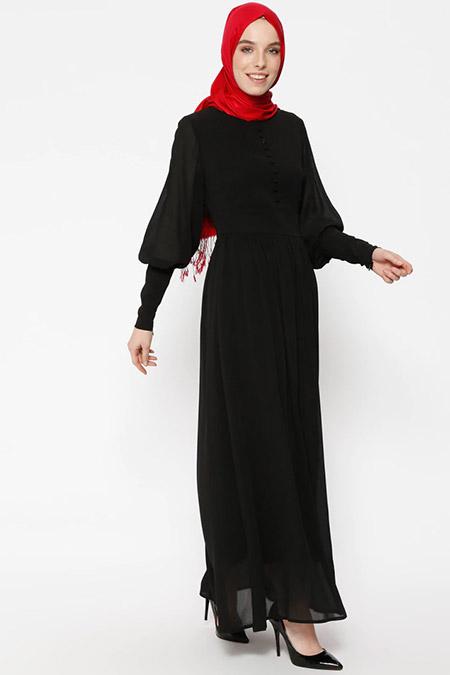 Puane Siyah Brit Detaylı Elbise
