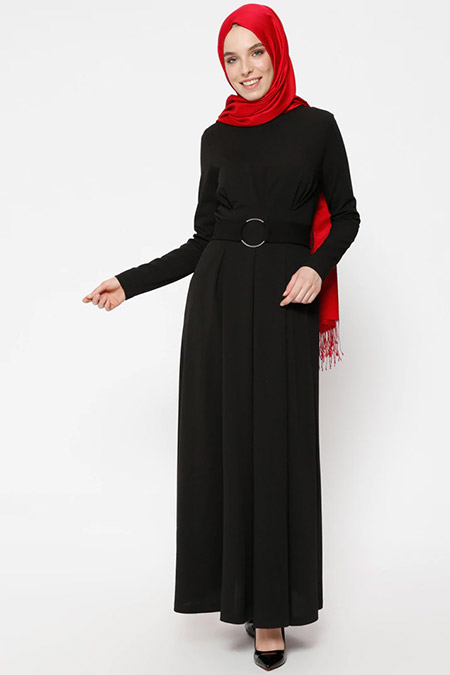 Puane Siyah Kemerli Elbise
