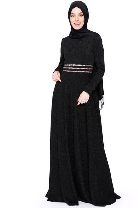 Puane Siyah Kendinden Simli Elbise