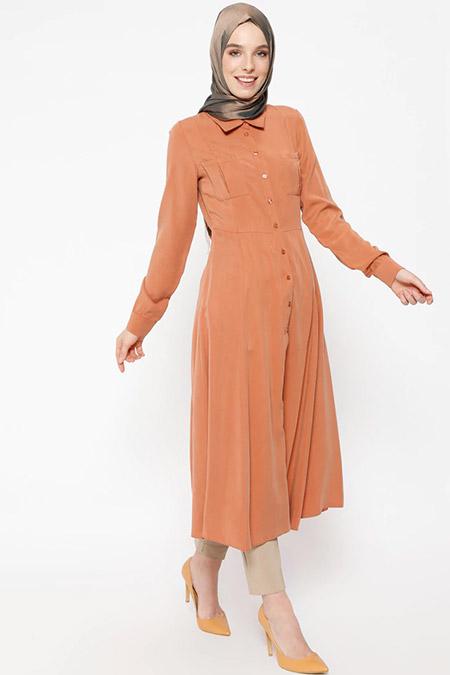Puane Soğan Kabuğu Düğmeli Uzun Tunik