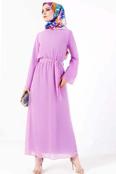 Refka Lila Yakası Taş Detaylı Şifon Elbise
