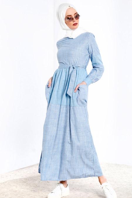 Refka Mavi Çizgili Elbise