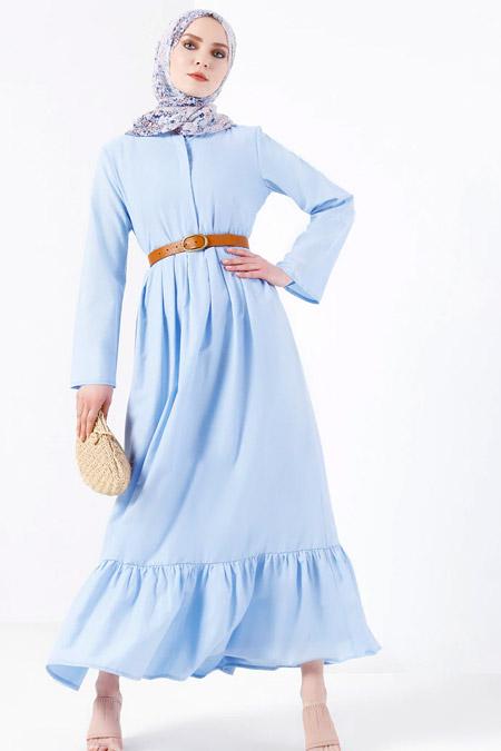 Refka Mavi Pile Detaylı Elbise