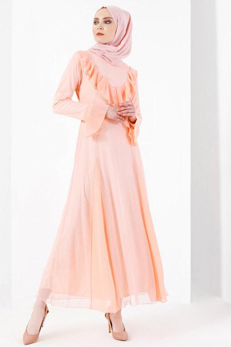 Refka Pembe Volan Detaylı Elbise