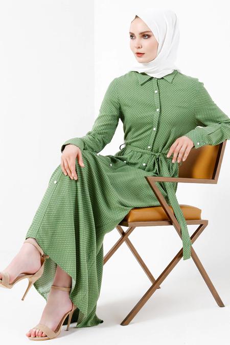 Refka Yeşil Doğal Kumaşlı Puantiyeli Elbise