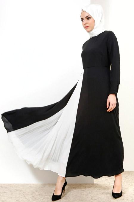 Refka Siyah Pilise Detaylı Elbise