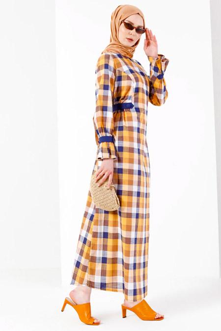 Refka Turuncu Desenli Elbise