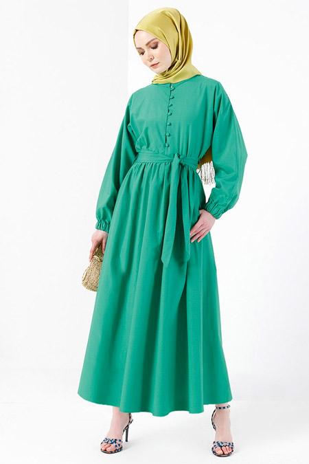 Refka Yeşil Brit Detaylı Elbise
