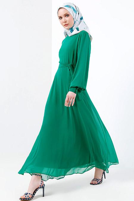Refka Zümrüt Şifon Elbise