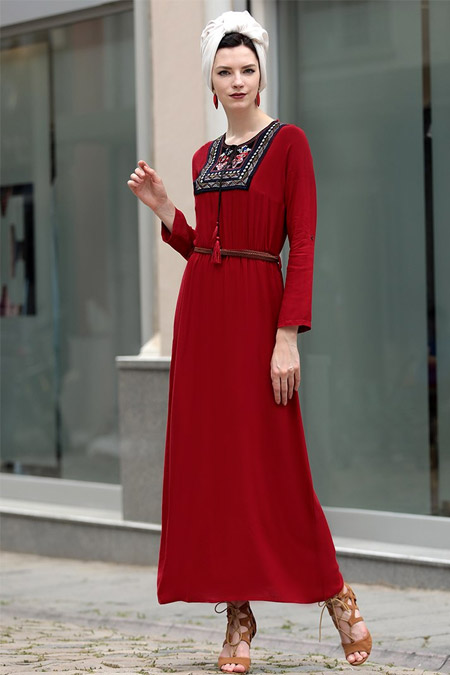 Selma Sarı Design Bordo Nakışlı Elbise