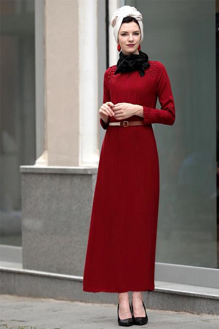 Selma Sarı Design Bordo Önü İncili Elbise